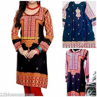 Indian Designer Crepe kurta tops blouse Kurtis-Tunics Women Black Pakistani -