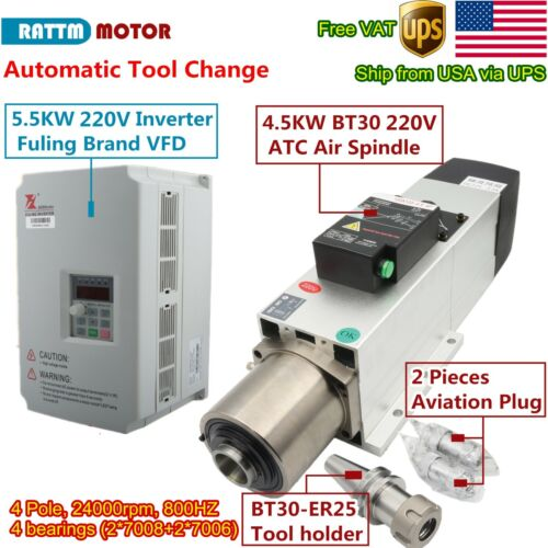 〖US〗4.5KW BT30 220V ATC Air Cooled Spindle Motor Automatic Tool Change+ Inverter