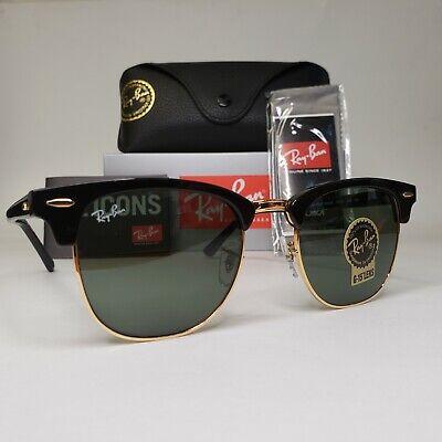 Ray-ban Sunglasses Clubmaster RB 3016 Green G15 Lenses Black Frame.