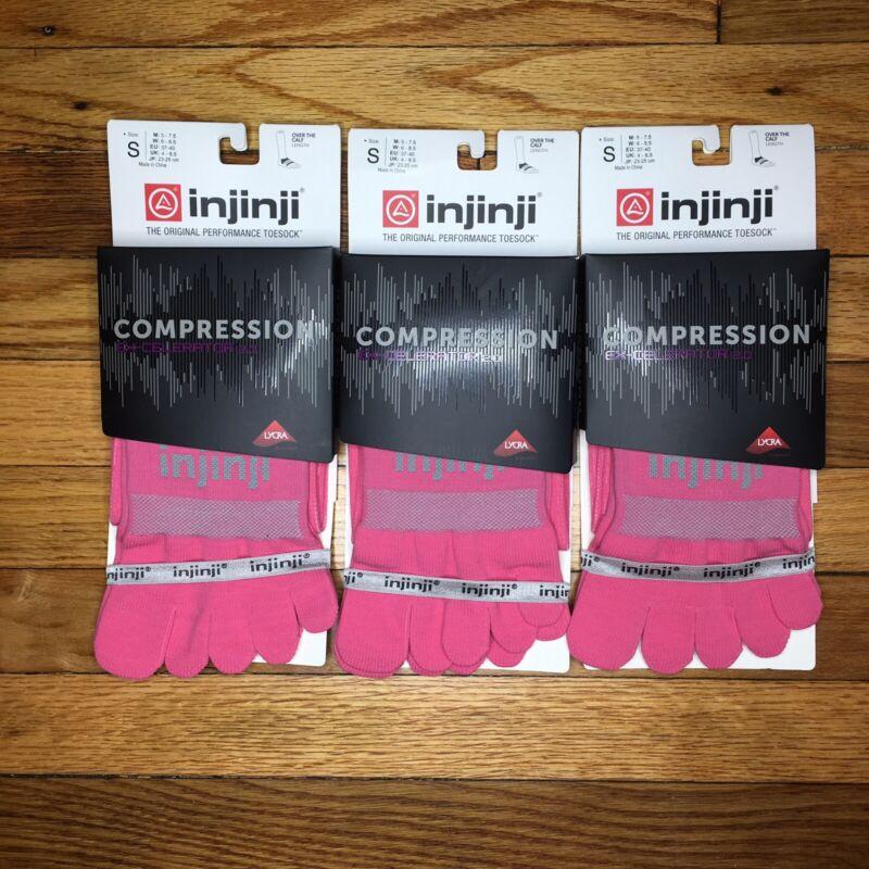 LOT OF 3 Injinji Compression Toe Socks Pink Ex-Celerator SMALL Running Trail