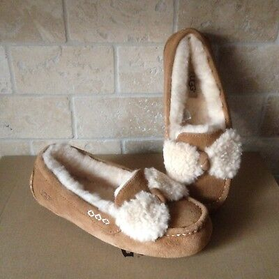 UGG Ansley Fur Bow Chestnut Suede Moccasins Slippers Shoes Size US 5 Womens