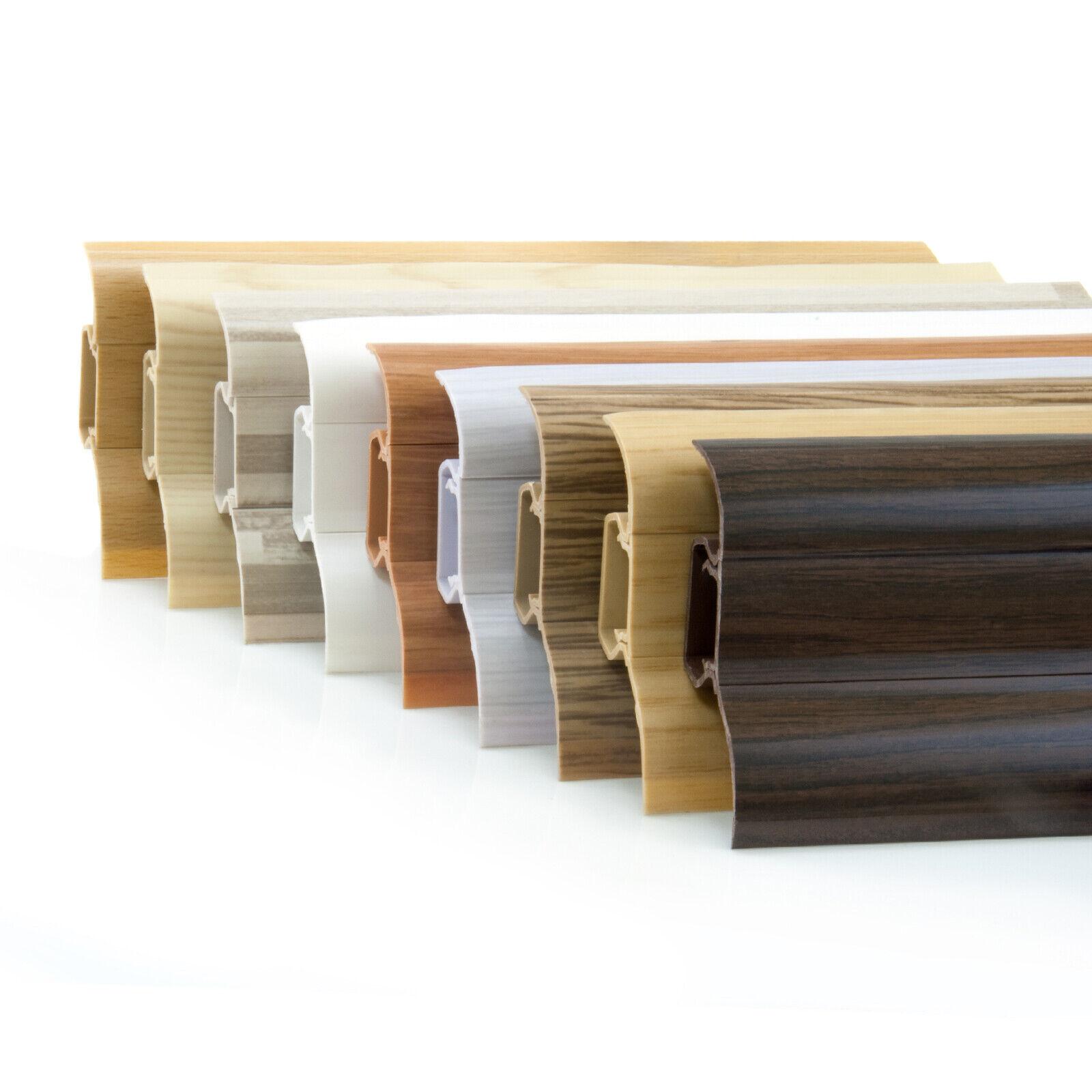 200cm Sockelleisten Laminatleisten Kunststoff PVC Leisten 52mm Weiß Fußleiste