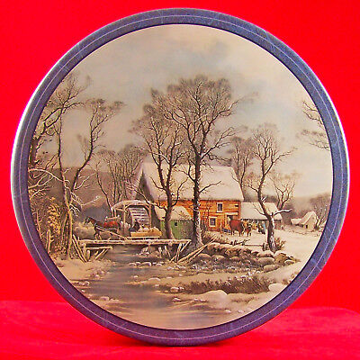 """Tin Can Box Empty Xmas Horse Sleigh Holiday Village Scene Container Round 10"""""""