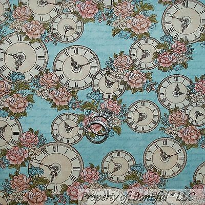 BonEful Fabric FQ Cotton Quilt VTG Blue Pink Rose Flower English Tea Time Clock English Garden 3 Light