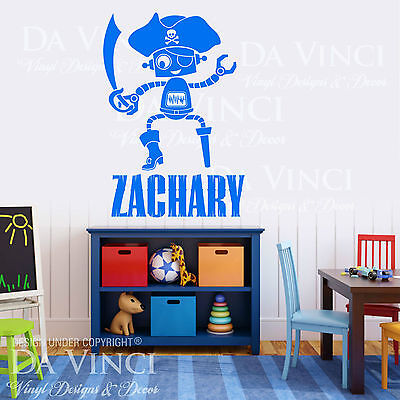 Personalized Custom Name Pirate Swords Robot Vinyl Sticker Wall Room Decal Decor ()