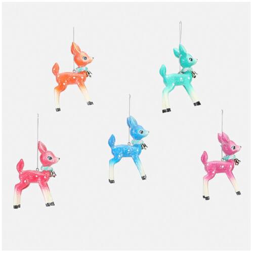 Set/5 Deer w/ Bell Christmas Tree Ornaments Blue Pink Red Orange Retro Vtg Decor