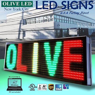 Olive Led Sign 3color Rgy 19x52 Pc Programmable Scroll. Message Display Emc