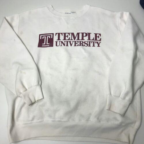 Vintage Temple University Crewneck Sweater 90s Distressed Large