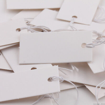 100x Rectangle Price Tags Jewelry Label With Elastic String Bracelet Rings Card