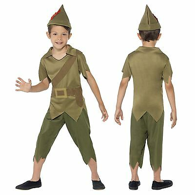 Boys Green Robin Hood Peter Pan Forest Kid Elf Imp Full Book Fancy Dress Costume