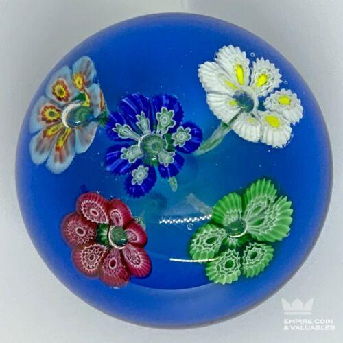 "Vintage ITALIAN MILLEFIORI 5 FLOWER Paperweight MURANO GLASS 3.5"" Large! *E2D"