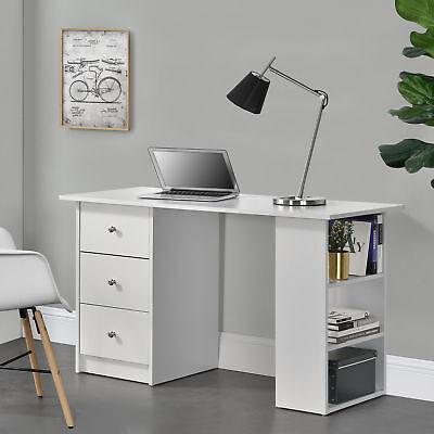 en.casa® Schreibtisch 120x50x72cm Bürotisch mit Schubladen Ablage Regal PC Tisch