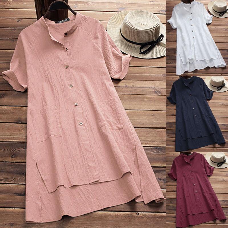 Damen Sommer Tunika Minikleid Hemdkleid Bluse Locker Longshirt  Übergröß Strand