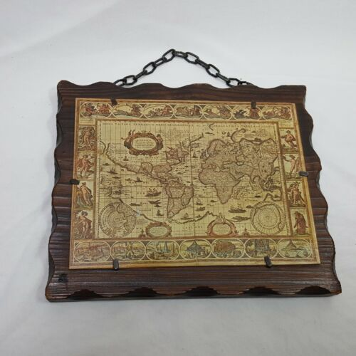 Vintage Wooden Chain Wall Hanger Map Nova Totius Terrarum 8 in Tall Collectible