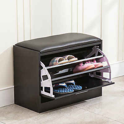 Wood Shoe Storage Ottoman Seating Bench Cabinet Closet Shelf Entryway