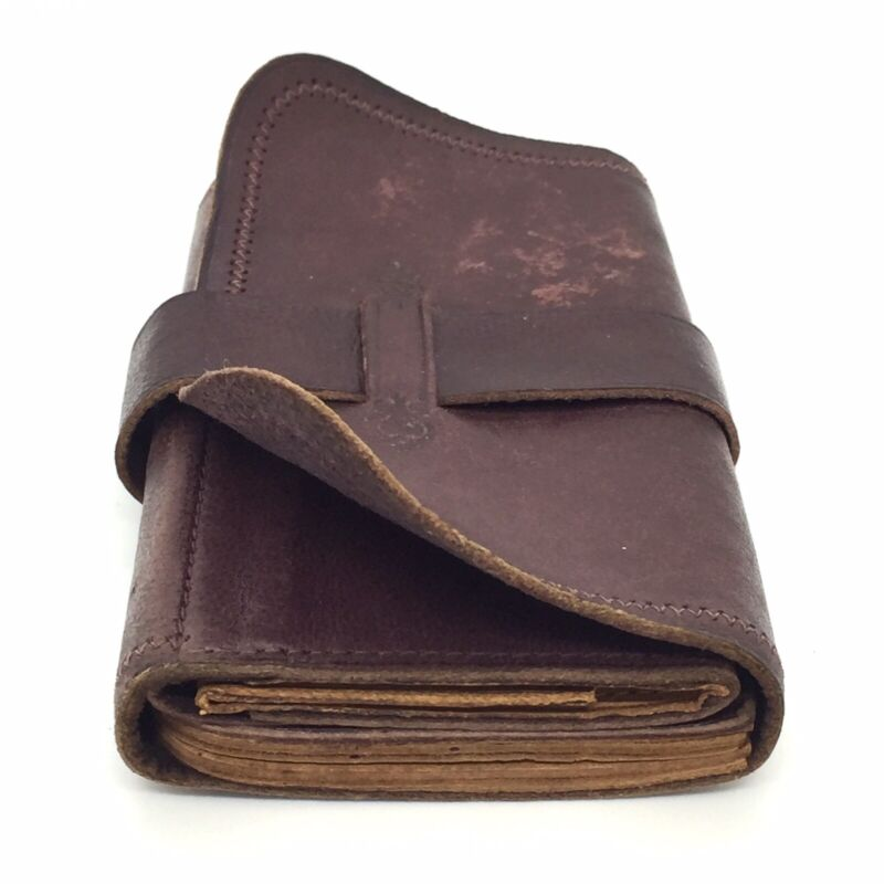 Rare early 1900s Antique Five-Fold Burgundy Brown Leather Billfold Wallet - EXC