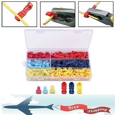 240pc T-tap Splice Wire Connector Insulated Spade Kit Electrical Crimp Terminals