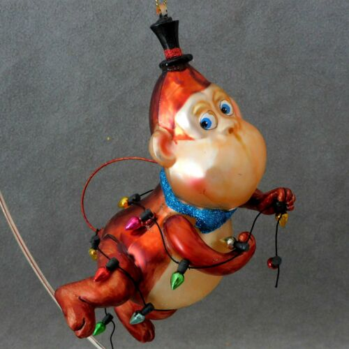 "Christmas Ornament Glass MONKEY Strand of Lights Dancing Copper 6"" USA SELLER"