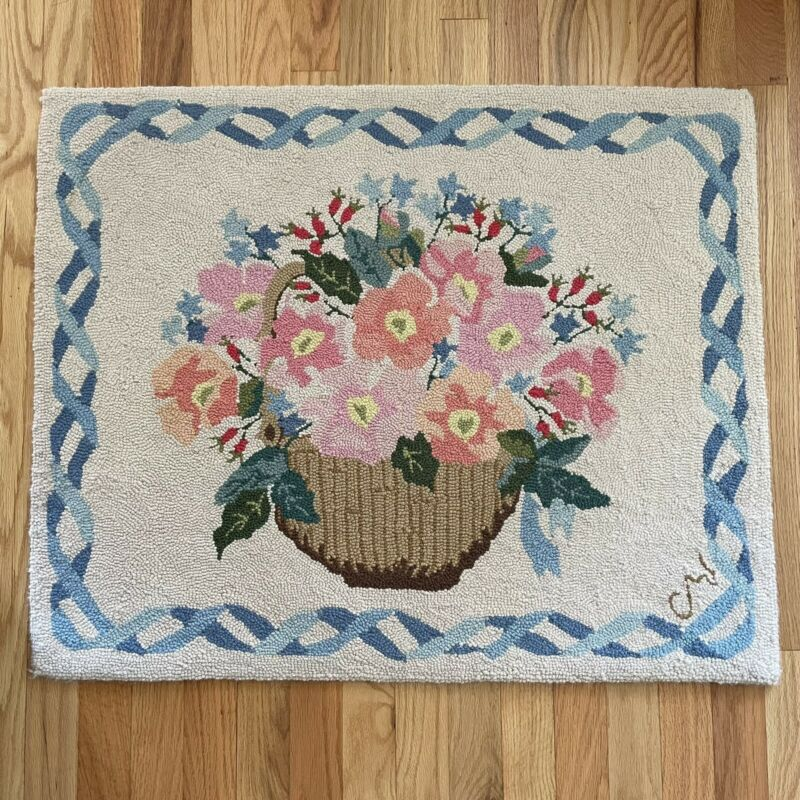 """Claire Murray Wool Rug Floral Flower Basket Design Hand Hooked Rug 25""""x31"""""""
