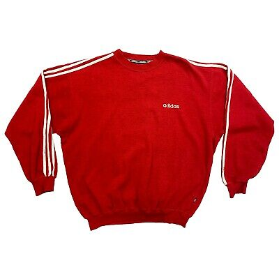Adidas Sweatshirt | Vintage Retro Sports Brand 3 Stripes Heather Red Jumper VTG