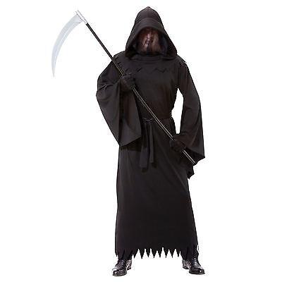 Qualität Herren Sensenmann Phantom der Finsternis Halloween Kostüm Mantel Kapuze (Phantom Der Finsternis Kostüm)