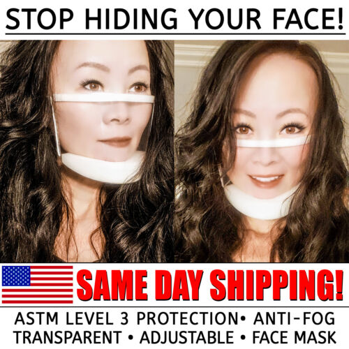 Clear Face Mask • FDA-cleared • Adjustable • Transparent Anti-Fog • ASTM Level 3