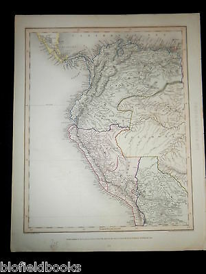 Original Antiquarian Map of North Western South America c1850 Equador, Peru, etc