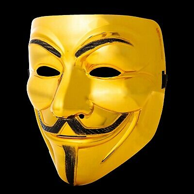 5 Gold Guy Fawkes Anonymous Face Masks Hacker V For Vendetta Halloween Dress UK