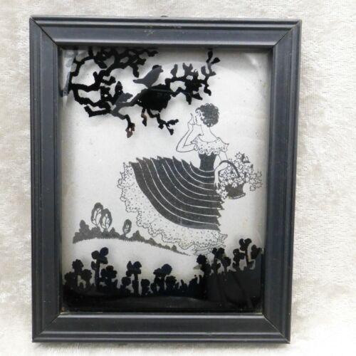 Vintage Black Silhouette Picture Spring Time 1930s Deco Woman Birds Deltex
