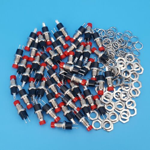 50Pcs PBS-110 Red Cap 7mm 2Pin OFF-MOM Momentary SPST Mini Push Button Switch