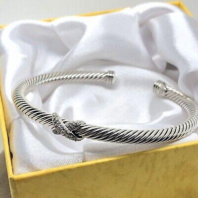 David Yurman Sterling Silver Diamond Crossover X Station Bracelet Bangle 4mm