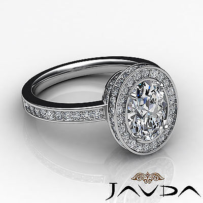 Crown Halo Pave Set Oval Cut Diamond Engagement Ring GIA Certified F VS2 1.82Ct 2