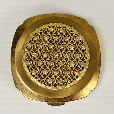 1960s Powder and Mirror Compact Heart Lattice Work w Rhinestones  ()