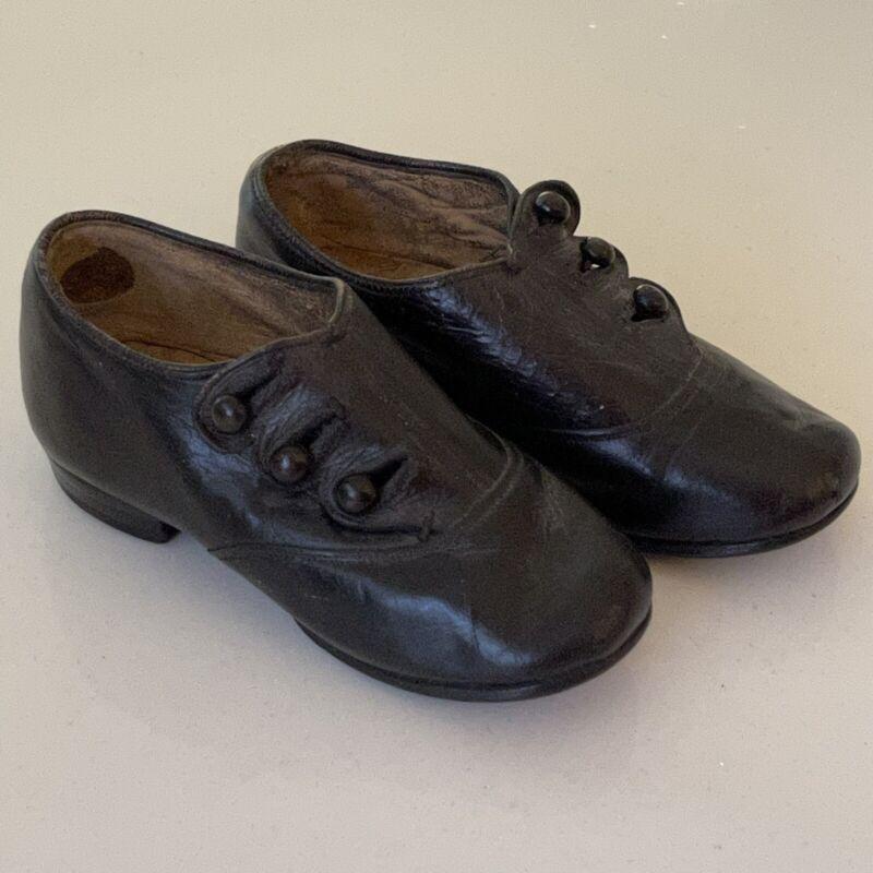ANTIQUE CHILD'S SHOES Victorian BUTTON UP Leather Pair VGC