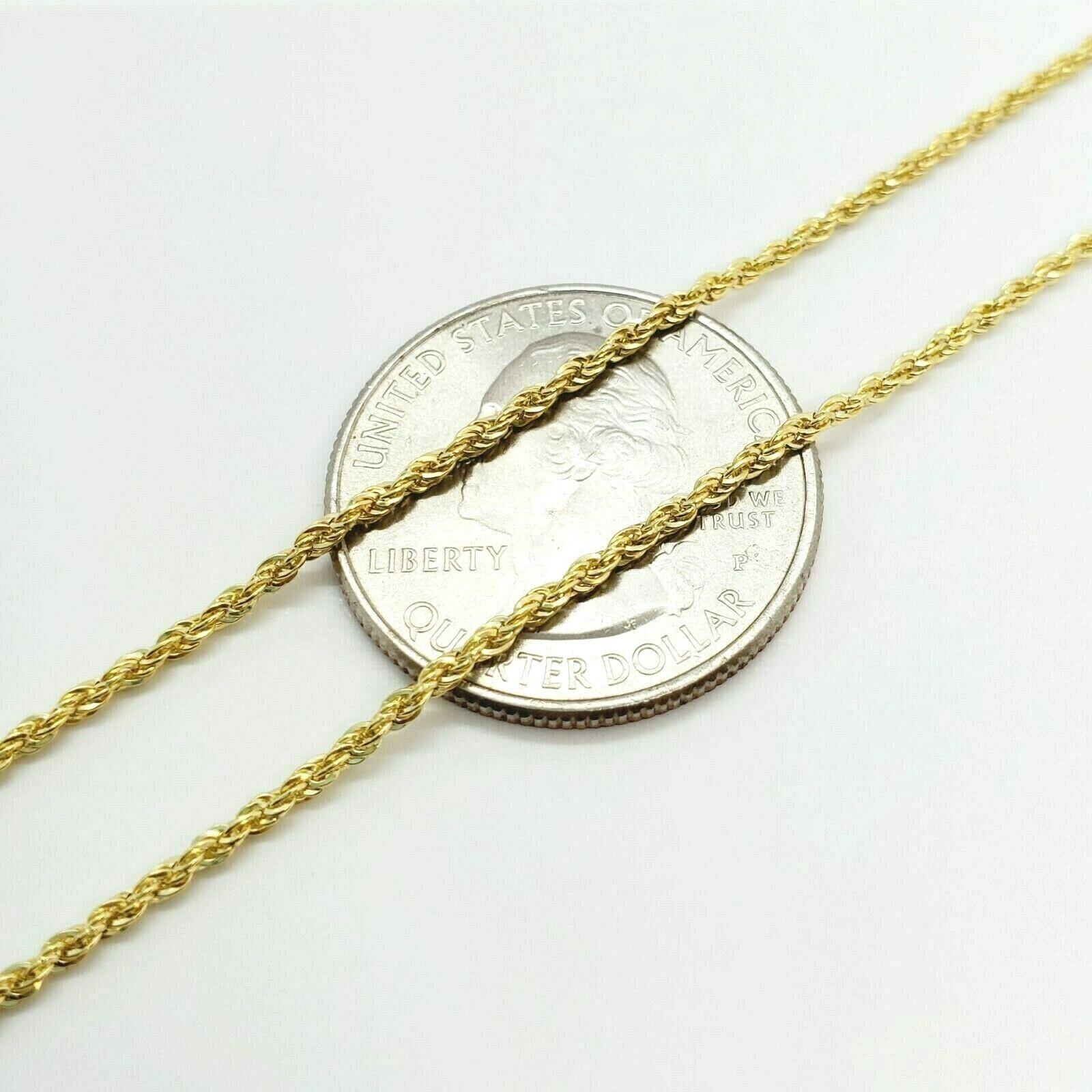 "10K Yellow Gold 1.5mm Diamond Cut Rope Chain Pendant Necklace Mens Women 16""-26"" 1"