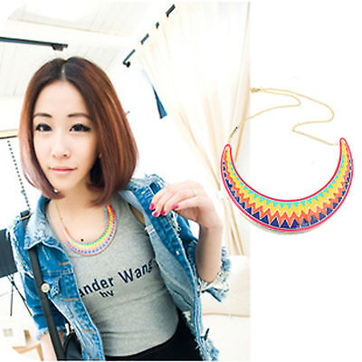 Fashional Exaggerated Waves Shape Colorful Rainbow Sweater Chain Necklace ON0231 on Rummage
