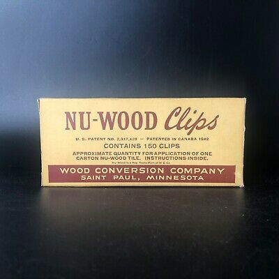 Vintage Box Nu-Wood Clips and Instruction Sheet Wood Conversion Co Saint Paul MN