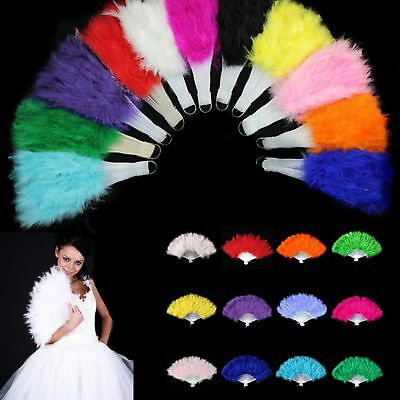 Beautiful Feather Fan Folding Hand Sold Costume Wedding Showgirl Dance Fancy