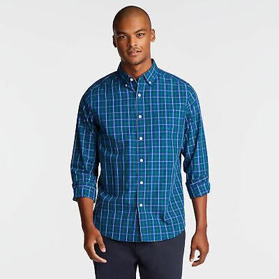 Nautica Mens Classic Fit Poplin Shirt In Deep Blue Plaid