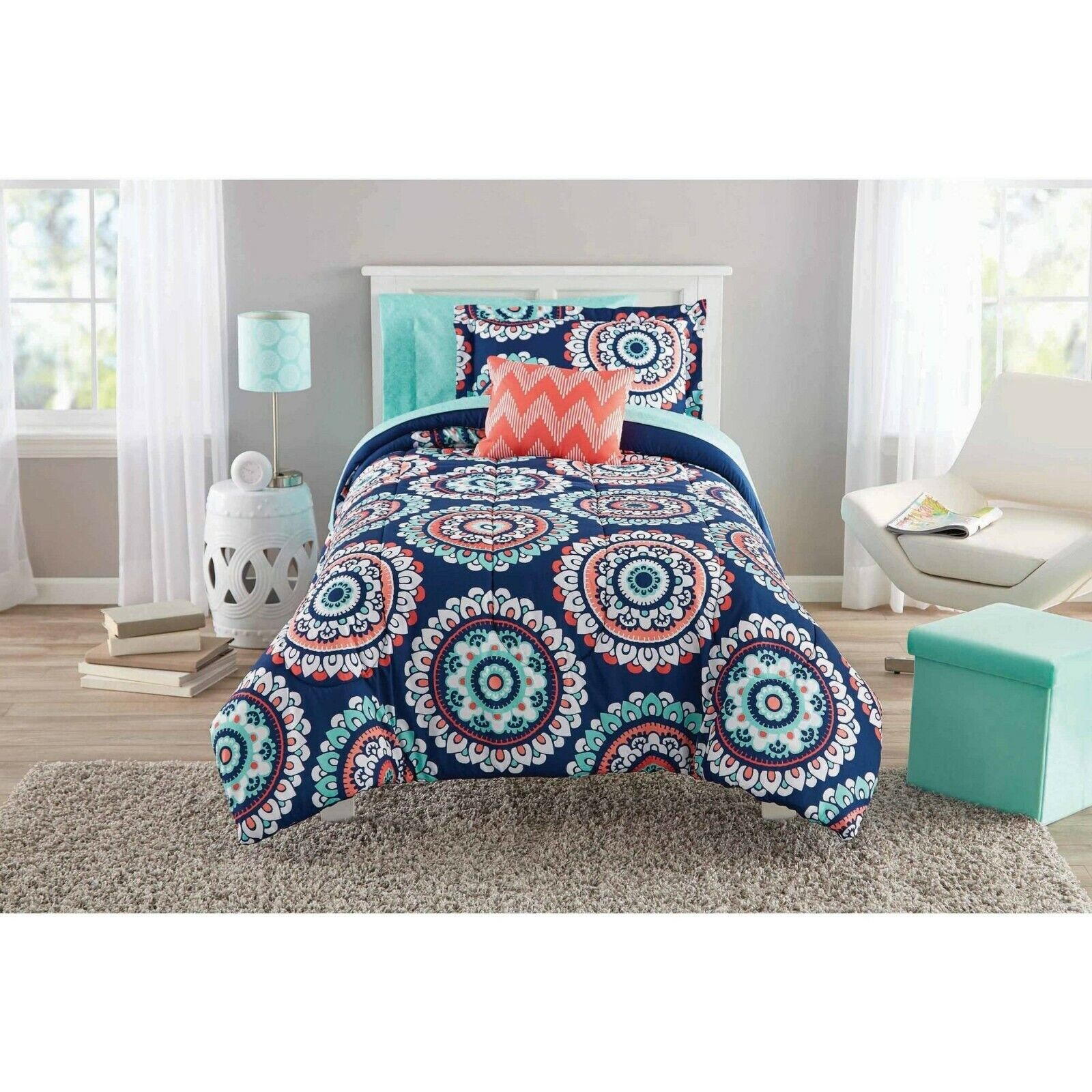 Mainstays Navy Medallion Bed In A Bag Full