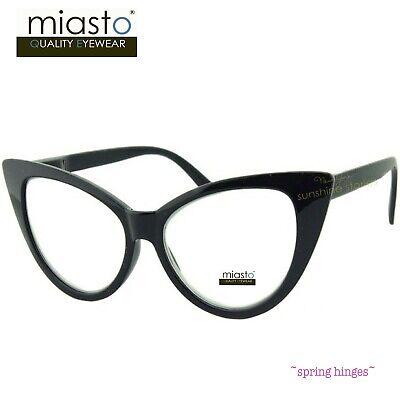 NWT$39.99 MIASTO BIG CAT EYE LARGE READER READING GLASSES+2.50 BLACK~FLEX (Large Cat Eye Reading Glasses)