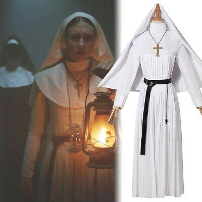 The Conjuring Scary The Nun White Valak Sister Irene Cosplay Costume Halloween](Halloween Nun Costumes)