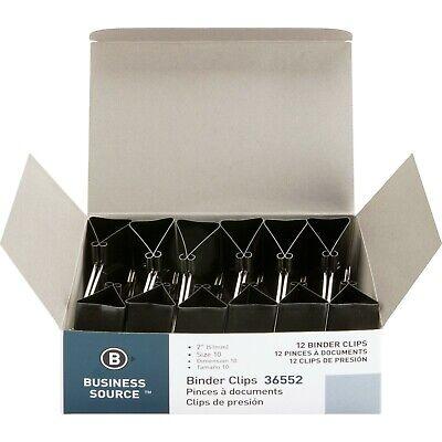 Business Source 36552 Binder Clips Large - 2 X 1 12 Dozen - Black