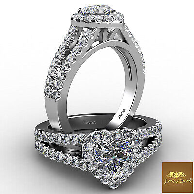 Halo French Pave Split Shank Heart Cut Diamond Engagement Ring GIA F VS1 1.25Ct