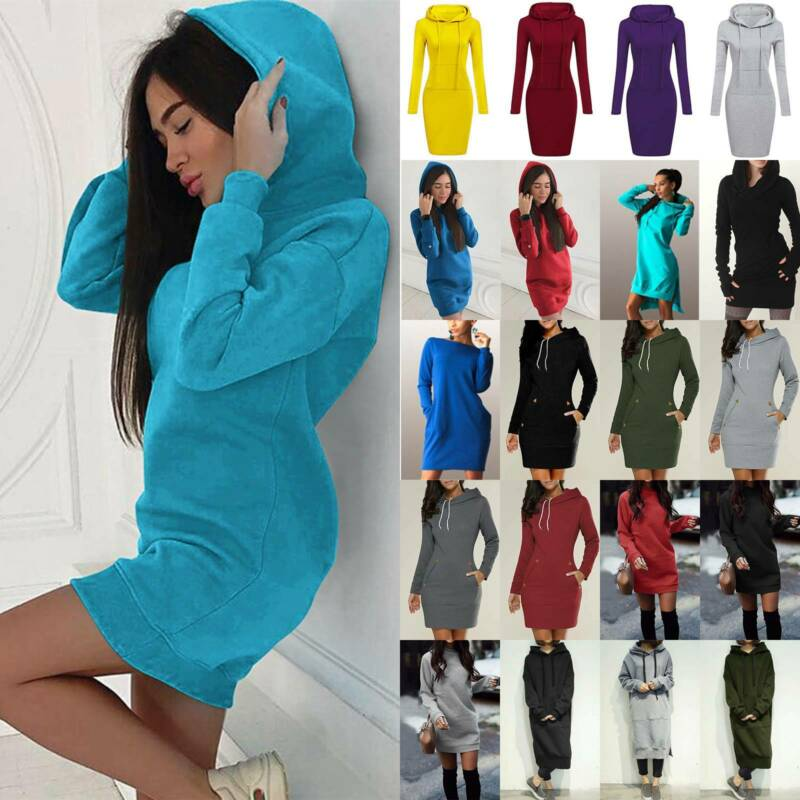 Damen Hoodie Langarm Lange Kapuzenpullover Sweatshirt Minikleid Longtop Freizeit