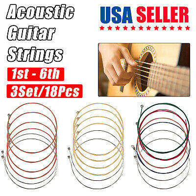 3 x Set of Guitar Strings Replacement Colorful Steel String for Acoustic Guitar