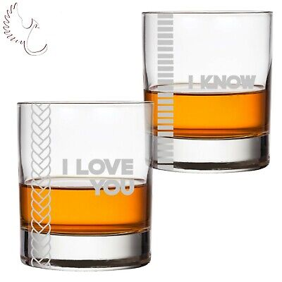 Star Wars Inspired I Love You - I Know Set of Two Bourbon Whiskey Rocks Glass