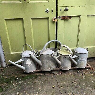 4 vintage galvanised metal watering cans