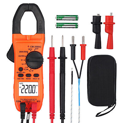 Digital Clamp Meter Trms Multimeter Ncv Acdc Volt Capacitance Resistance Tester
