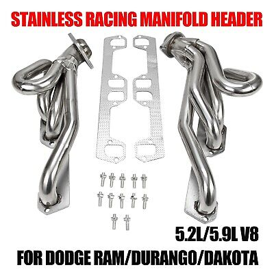 STAINLESS RACING MANIFOLD HEADER FOR DODGE RAM/DURANGO/DAKOTA 5.2L/5.9L V8